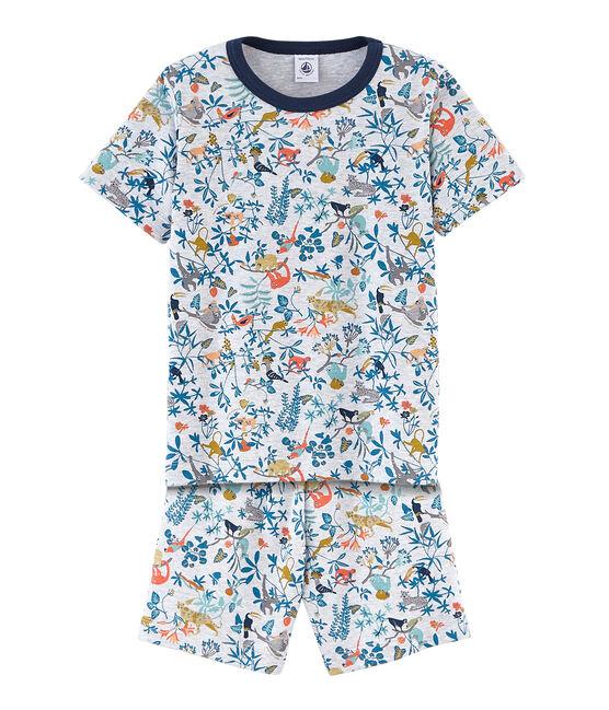 Rippstrick-Kurzpyjama für kleine Jungen grau Poussiere / weiss Multico