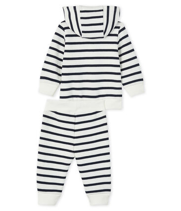 Baby Sweat Shirt und Jogging Set weiss Marshmallow / blau Smoking