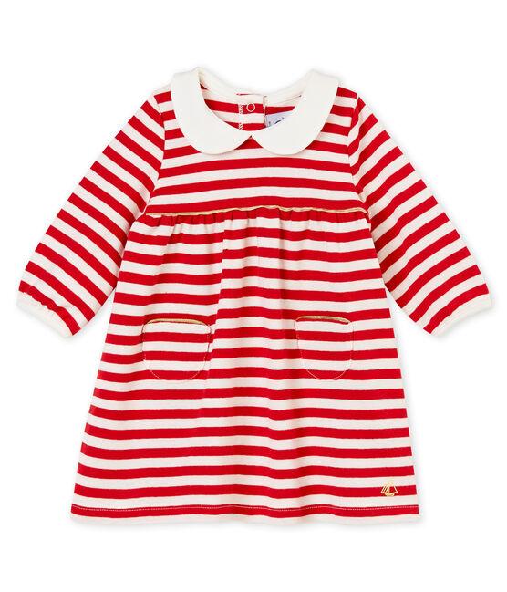 Gestreiftes Baby MädchenKleid mit Kragen rot Terkuit / weiss Marshmallow