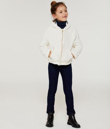Sweatshirt aus Fleece in Schaffelloptik für Mädchen weiss Marshmallow