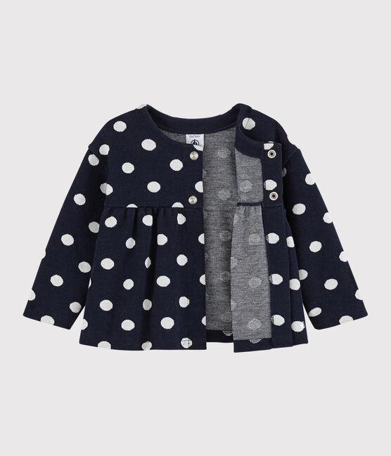 Gepunkteter Baby-Cardigan für Mädchen blau Smoking / weiss Marshmallow