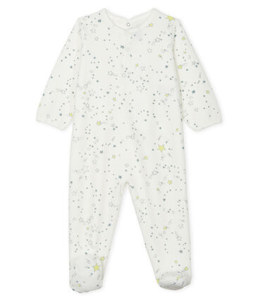 Baby-Strampler aus Samt für Jungen weiss Marshmallow / weiss Multico