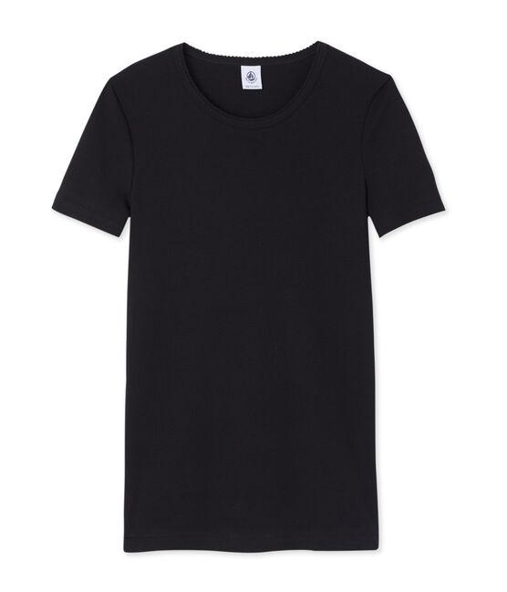 Einfarbiges kurzarm-t-shirt damen schwarz Noir