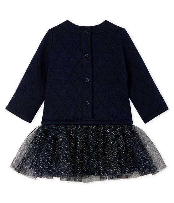 Langärmeliges Babykleid aus Materialmix für Mädchen blau Smoking