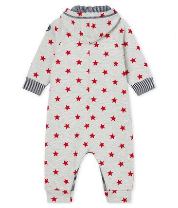 Gemusterter Baby-Langoverall mit Kapuze für Jungen grau Beluga / rot Terkuit