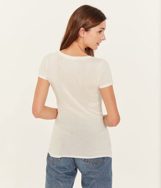 Kurzärmliges T-Shirt mit V-Ausschnitt für Damen weiss Marshmallow