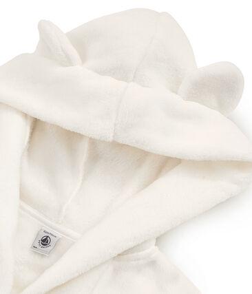 Fleece-Morgenmantel für Jungen weiss Marshmallow