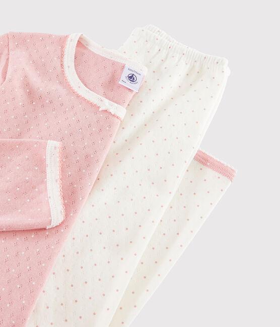 Gepunkteter Rippstrick-Pyjama mit Lochmuster für kleine Mädchen weiss Marshmallow / rosa Charme