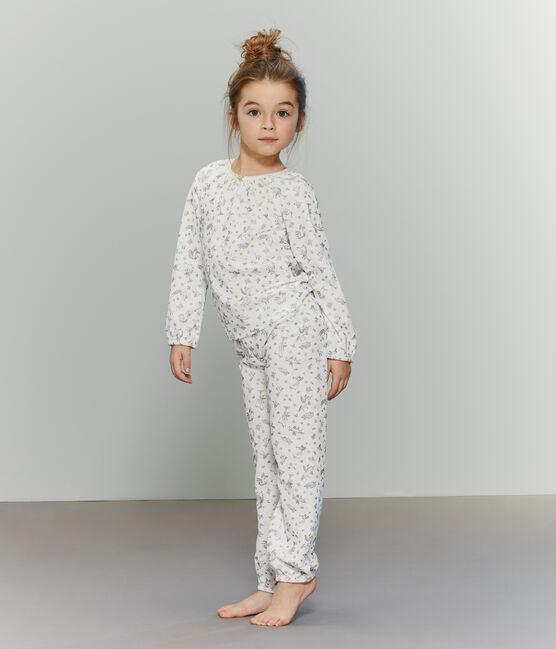 Samt-Pyjama für Mädchen weiss Marshmallow / weiss Multico