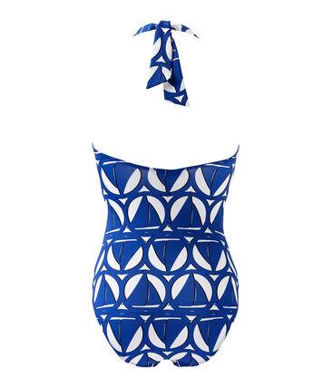 Bedruckter Damen-Badeanzug weiss Marshmallow / blau Perse