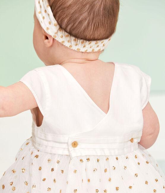 Baby-Kleid für Mädchen weiss Marshmallow / gelb Or