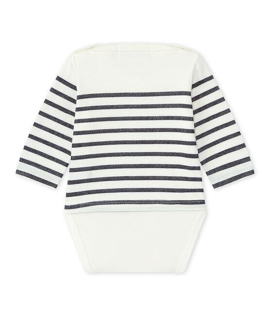Dieses Baby-Mädchen-Streifenshirt weiss Marshmallow / blau Smoking