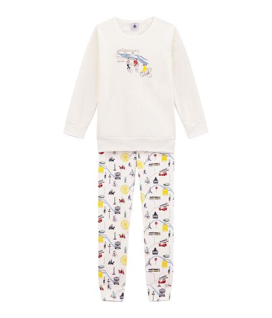 Mädchen Schlafanzug weiss Marshmallow / weiss Multico