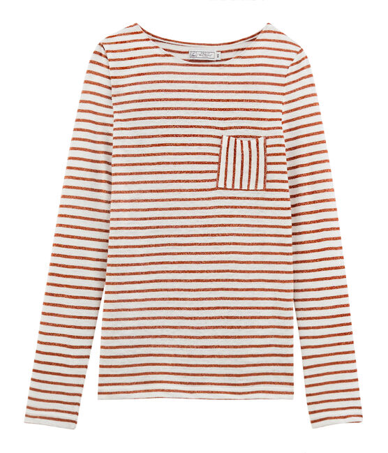 Langarm-leinen-t-shirt damen weiss Marshmallow / rosa Copper