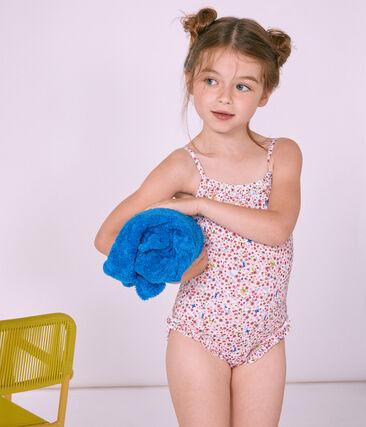 1-teiliger Kinder-Badeanzug Mädchen weiss Marshmallow / weiss Multico