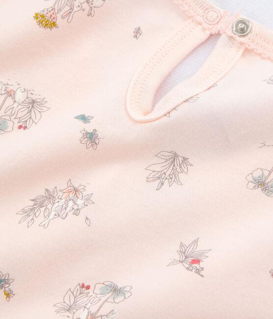 Nachthemd aus dünner Baumwolle für kleine Mädchen rosa Fleur / weiss Multico