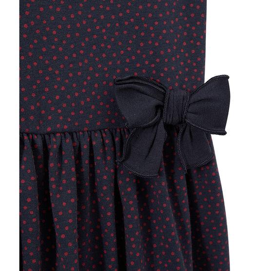 Gepunktetes Mädchen-Kleid blau Smoking / rot Terkuit