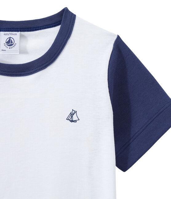 Zweifarbiger, kurzer Jungen-Schlafanzug blau Chaloupe / weiss Ecume