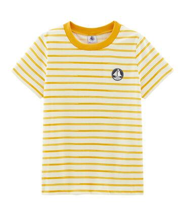 Kurzärmliges T-Shirt für Jungen beige Coquille / gelb Boudor
