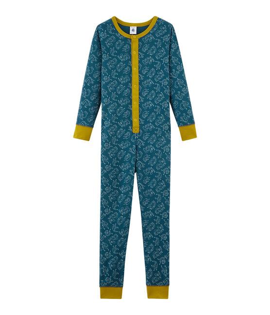 Langer Einteiler aus Baumwolle für kleine Jungen blau Shadow / weiss Marshmallow