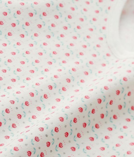 Bedruckter Mädchen-Schlafanzug weiss Lait / weiss Multico