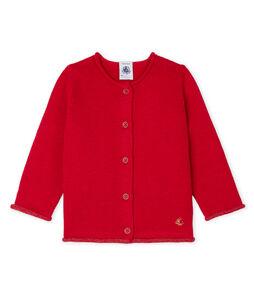 Basic-Baby-Cardigan aus Woll-/Baumwollstrick für Mädchen rot Terkuit