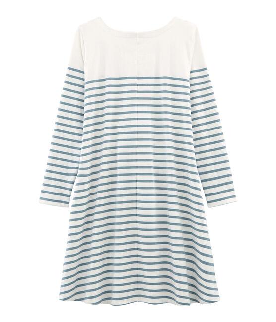 Langärmeliges kleid damen weiss Marshmallow / blau Fontaine