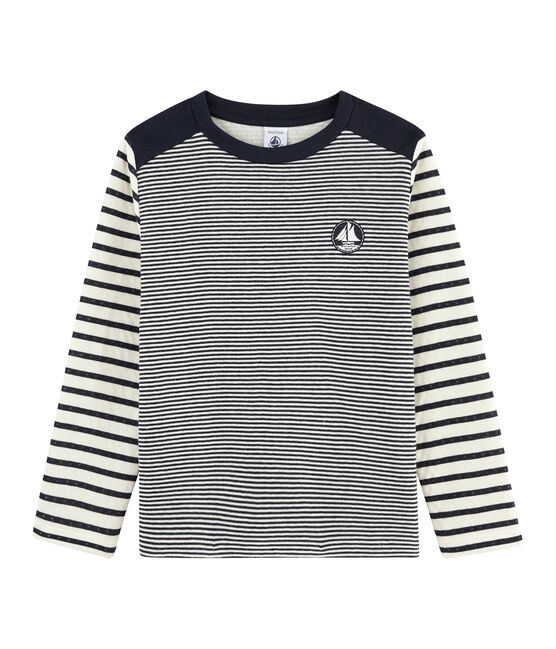 Gestreiftes Kinder-T-Shirt blau Smoking / weiss Marshmallow