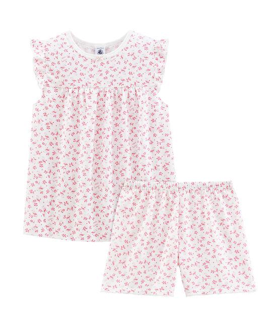 Kurzpyjama aus dünner Baumwolle für kleine Mädchen weiss Marshmallow / weiss Multico