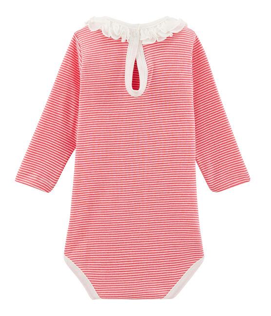 Langärmliger Baby-Body mit breitem Rüschenkragen für Mädchen rosa Petal / blau Crystal