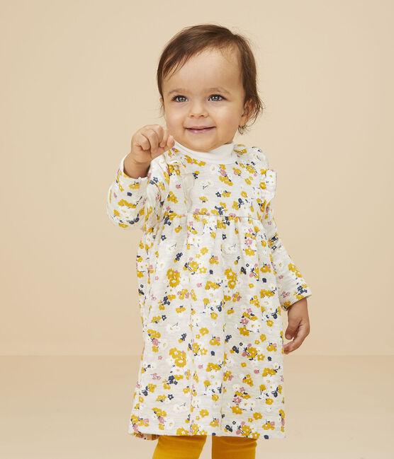 Langärmeliges Baby-Kleid für Mädchen beige Montelimar / weiss Multico