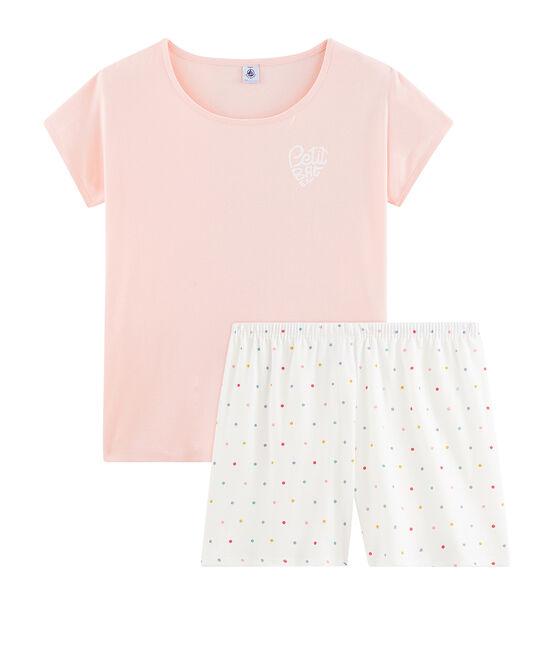 Rippstrick-Kurzpyjama für Mädchen rosa Minois / weiss Multico