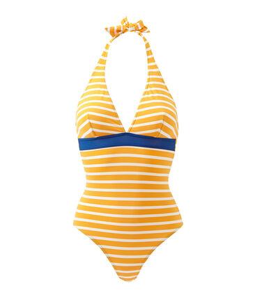 Gestreifter Damen-Badeanzug orange Fusion / weiss Marshmallow