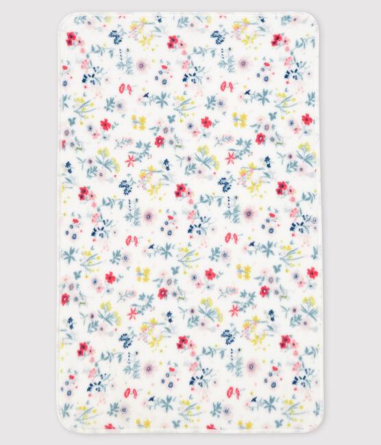 Baby-Decke mit Blumen aus Rippstrick für Mädchen weiss Marshmallow / weiss Multico