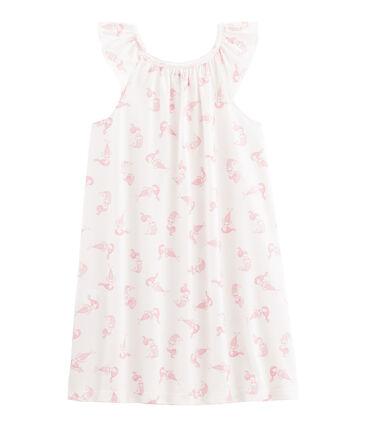Nachthemd aus dünner Baumwolle für kleine Mädchen. weiss Marshmallow / rosa Rose