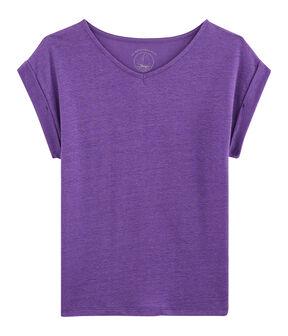 T-Shirt aus Leinen, Damen violett Real
