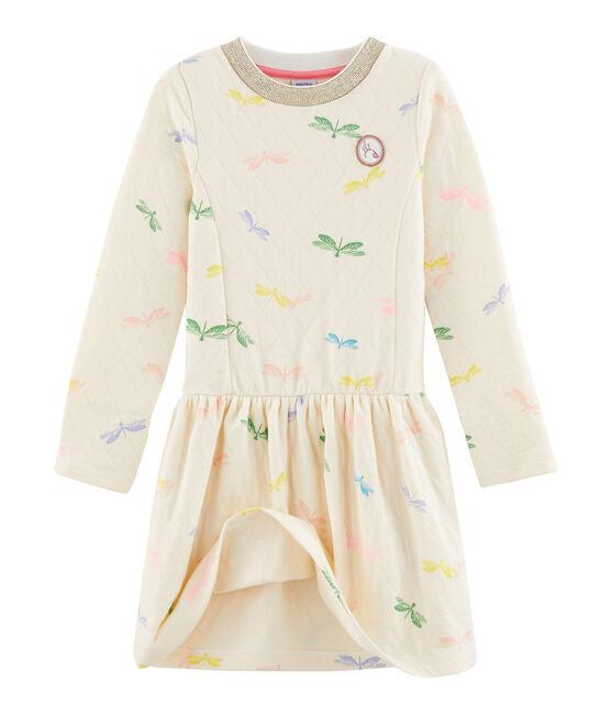 Kinder-Kleid für Mädchen beige Coquille / weiss Multico