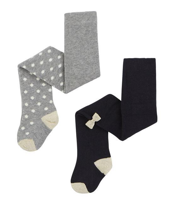 2er-Set Baby-Strumpfhosen für Mädchen grau Subway / blau Smoking