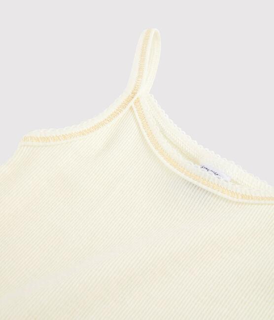 Trägerhemd aus Wolle und Baumwolle für kleine Mädchen weiss Marshmallow