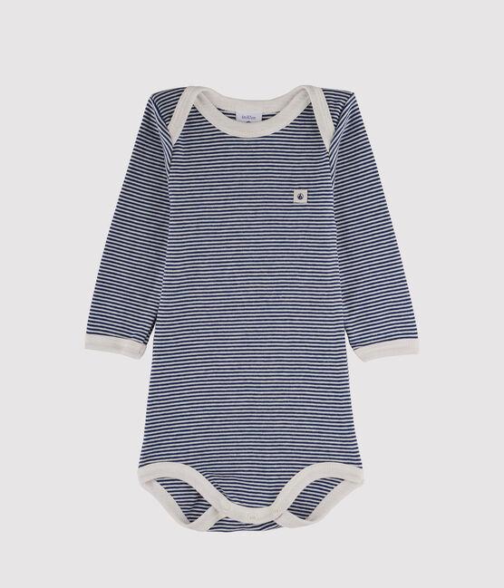 Langärmliger Baby-Body für Jungen blau Medieval / weiss Marshmallow