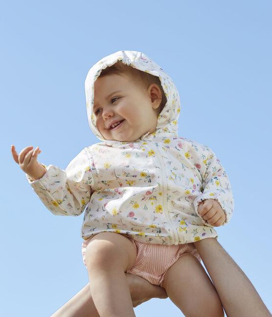 Gemusterte Baby-Windjacke Unisex weiss Marshmallow / rosa Rose