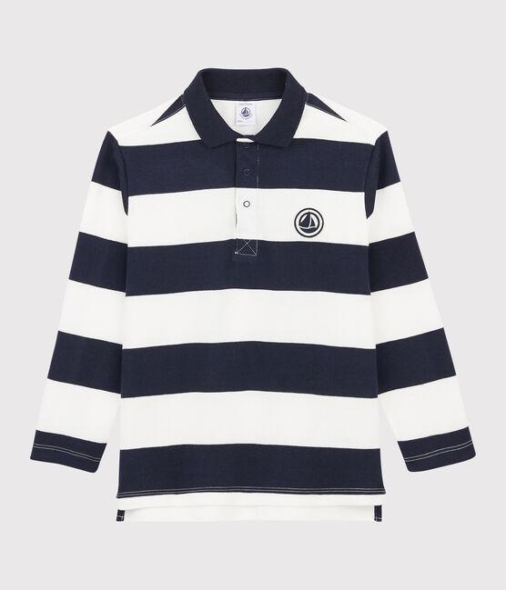Langärmeliges Kinder-Poloshirt für Jungen blau Smoking / weiss Marshmallow