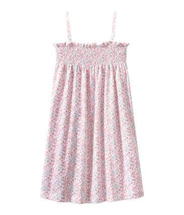 Bedrucktes gesmoktes Mädchen-Nachthemd weiss Ecume / weiss Multico