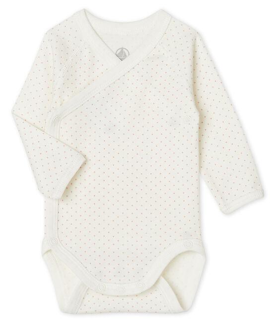Langärmeliger Body für Neugeborene weiss Marshmallow / rosa Charme
