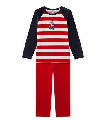 Jungen-Schlafanzug mit Ankermotiv blau Smoking / rot Froufrou