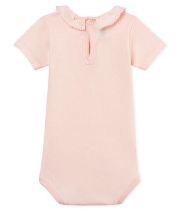 Baby-kurzarm-body mit breitem rüschenrg mädchen rosa Fleur