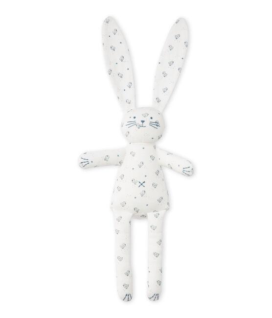 Doudou lapin bébé mixte imprimé weiss Lait / weiss Multico