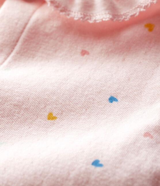 Rosa Baby-Strampler mit Herzchen rosa Fleur / weiss Multico