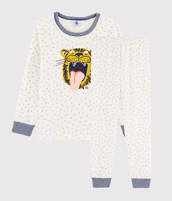Kinderpyjama aus Rippstrick mit Tiger-Motiv weiss Marshmallow / weiss Multico