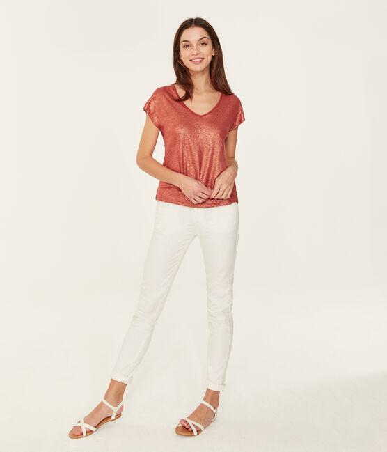 Kurzärmeliges einfarbiges schillerndes leinen-t-shirt damen orange Ombrie / rosa Copper